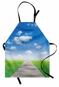Ahşap Yol ve Gökyüzü Mutfak Önlüğü Bulut Mavi