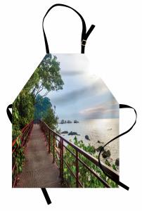 Ağaçlı Yoldaki Köprü Mutfak Önlüğü Yeşil Kahverengi