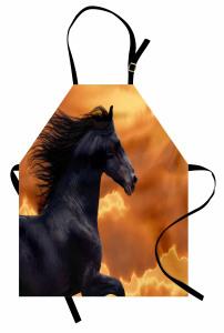 At Desenli Mutfak Önlüğü Gün Batımı