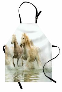 Suda Koşan Atlar Mutfak Önlüğü Vahşi Doğa Atlar