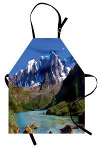 Karlı Dağlar ve Nehir Mutfak Önlüğü Mavi