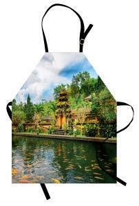 Tapınak Manzaralı Mutfak Önlüğü Yeşil Ağaç Balık