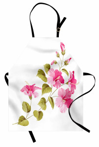 Çiçekler ve Yaprakları Mutfak Önlüğü Çeyizlik Beyaz Trend
