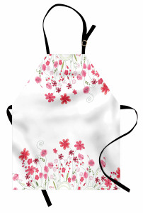 Bahar Dalları Mutfak Önlüğü Bahar Temalı Beyaz