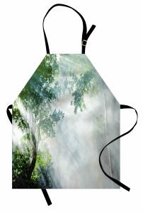 Sisli Orman Temalı Mutfak Önlüğü Gri Yeşil Doğa