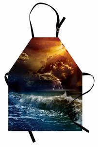 Gün Batımı Temalı Mutfak Önlüğü Turuncu Lacivert Deniz
