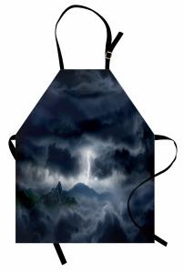 Fırtına Temalı Mutfak Önlüğü Gökyüzü Bulut Yağmur