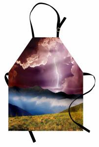 Yağmur Temalı Mutfak Önlüğü Dağ Bulut Çiçek Mor Sarı