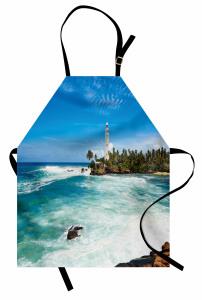 Adadaki Deniz Feneri Mutfak Önlüğü Deniz Feneri Mavi