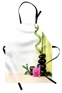 Çiçek ve Bambu Desenli Mutfak Önlüğü Yeşil Şık Tasarım