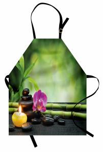 Orkide ve Bambu Temalı Mutfak Önlüğü Mor Yeşil Mum
