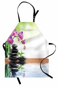 Bambu ve Orkide Desenli Mutfak Önlüğü Terapi Çiçek Mor