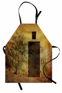 Kapı Desenli Mutfak Önlüğü Nostaljik Çiçek Kahverengi