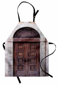 Kahverengi Ahşap Kapı Mutfak Önlüğü Nostaljik