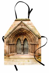 Katedral Kapısı Temalı Mutfak Önlüğü Kahverengi Gotik