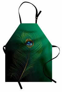 Kuş Tüyü Desenli Mutfak Önlüğü Yeşil Mavi Şık Tasarım