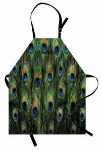 Tavus Kuşu Desenli Mutfak Önlüğü Yeşil Lacivert Şık