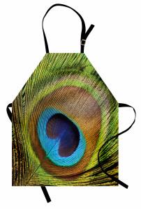 Tavus Kuşu Temalı Mutfak Önlüğü Yeşil Kahverengi Mavi