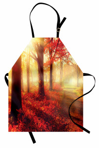 Sonbahar Temalı Mutfak Önlüğü Kırmızı Yaprak Ağaç