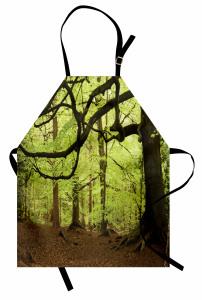 Orman Manzaralı Mutfak Önlüğü Ağaç Yeşil Kahverengi