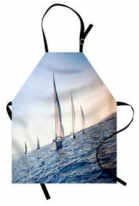 Yelkenli Deniz Temalı Mutfak Önlüğü Lacivert