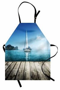 Turkuaz Deniz Manzaralı Mutfak Önlüğü Ahşap İskele Yat