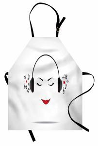 Müzik Dinleyen Kız Mutfak Önlüğü Beyaz NotaMelodi
