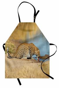 Afrika Yaban Hayatı Mutfak Önlüğü Leopar Nehir