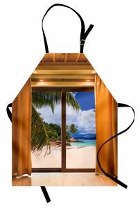 Pencere Desenli Mutfak Önlüğü Plaj Deniz Kahverengi
