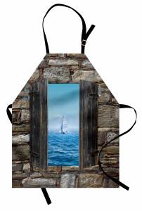Ahşap Pencere Temalı Mutfak Önlüğü Deniz Kahverengi