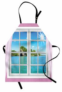 Turkuaz Deniz Manzaralı Mutfak Önlüğü Pembe Pencere
