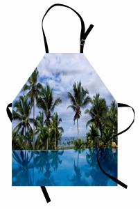 Havuz Manzaralı Mutfak Önlüğü Mavi Gökyüzü Palmiye