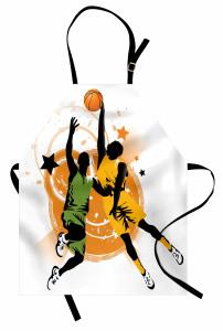 Basketbolcu Desenli Mutfak Önlüğü Basketbol Spor Turuncu