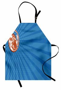 Amerikan Futbolu Temalı Mutfak Önlüğü Mavi Kırmızı