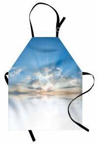 Gökyüzü Temalı Mutfak Önlüğü Mavi Beyaz Bulut Işık