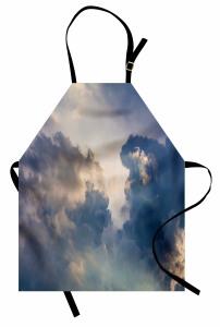 Gökyüzü ve Bulut Temalı Mutfak Önlüğü Mavi Gri Şık