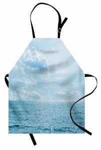 Deniz Bulut Manzaralı Mutfak Önlüğü Mavi Gökyüzü