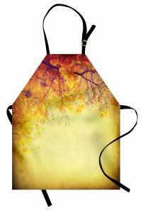 Sararan Yapraklar Mutfak Önlüğü Sonbahar Ağaç
