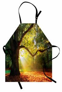 Sonbahar Temalı Mutfak Önlüğü Orman Yeşil Ağaç Yaprak