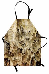 Bej Gökdelen Desenli Mutfak Önlüğü Modern Şık Tasarım