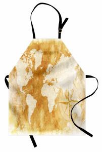 Dünya Haritası Pusula Mutfak Önlüğü Bej