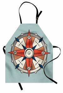 Mavi ve Kırmızı Pusula Mutfak Önlüğü Mavi Fon