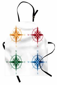 Rengarenk Pusula Mutfak Önlüğü Beyaz Fonlu