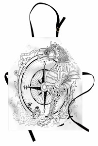 Deniz Atı İnci Pusula Mutfak Önlüğü Çiçekli