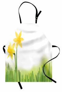 Nergis Desenli Mutfak Önlüğü Sarı Nergis Çiçekli Tasarım