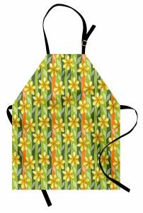 Çiçekli Tasarım Mutfak Önlüğü Sarı Nergis Çiçekli Tasarım