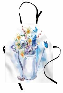 Sulu Boya Çiçekli Mutfak Önlüğü Çiçekli Şık Tasarım