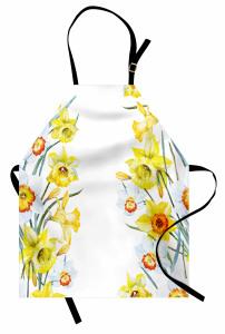 Sulu Boya Nergisler Mutfak Önlüğü Sarı Nergis Çiçeği