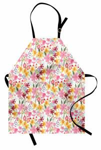 Bahar Işıltısı Mutfak Önlüğü Pembe Sarı Çiçekli Tasarım