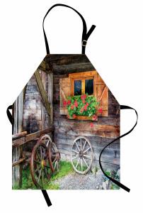 Nostaljik Pencere Teker Mutfak Önlüğü Ahşap